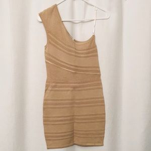 Tan one shoulder patterned body con H&M dress